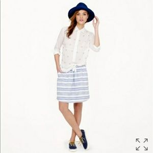 J. Crew linen white and blue boardwalk skirt 2